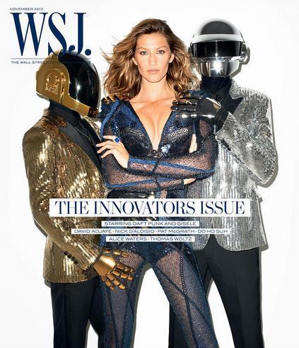Gisele Bündchen estrela capa da WSJ Magazine ao lado da dupla do Daft Punk