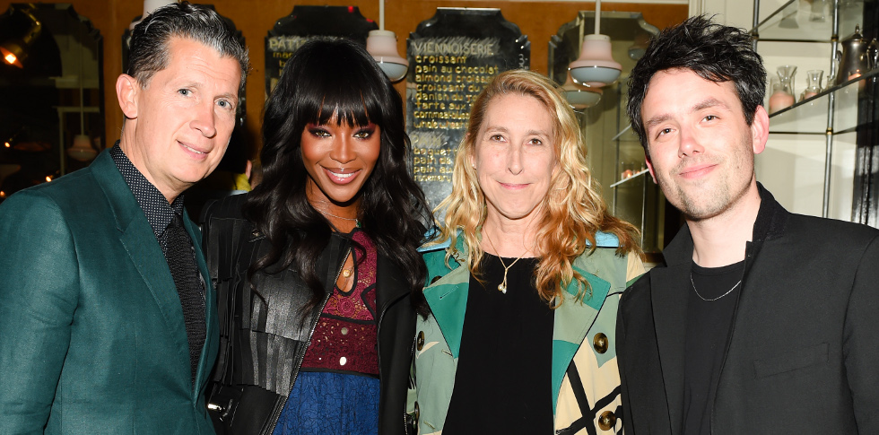 Stefano Tonchi, Naomi Campbell, Lisa Phillips, Ed Atkins, (wearing Burberry)