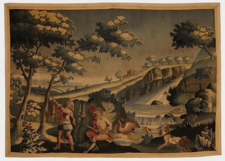 Linda tapeçaria Aubusson com temática Verdure. França - Séc. XVII, 178 x 224 cm