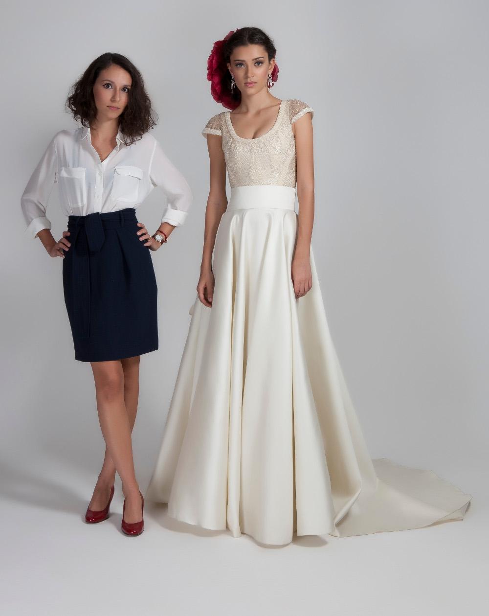 A estilista Maria Mendes de Almeida e uma das suas noivas