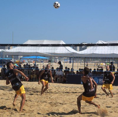 Futevôlei é esporte demonstração na Arena de volei de praia nas Olímpiadas do Rio 2016