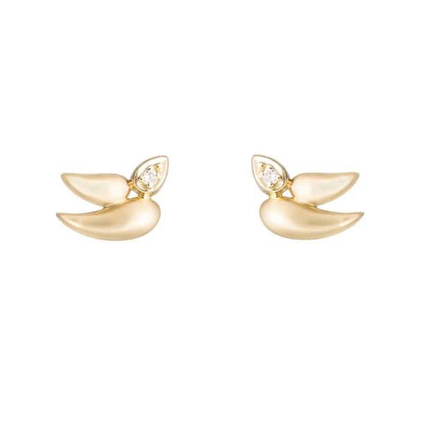 Brincos Pomba da Paz de ouro amarelo 18K com detalhes de diamantes