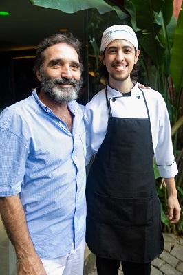 Edgar Duvivier e Maria Clara Gueiros abrem a casa para uma domingueira vegana com o chef Eric Witzel