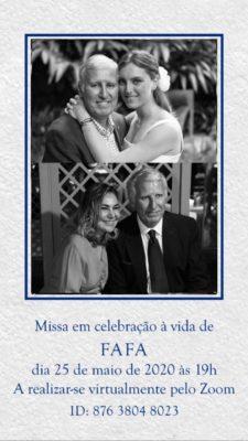 Rafael Fragoso Pires hoje ás 1900 horas um celebração a vida e a amizade no ZOOM